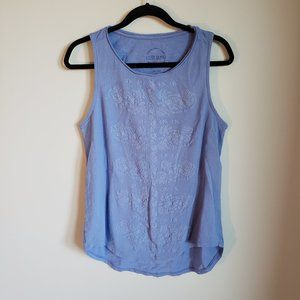 Lucky Brand Blue Embroidered Tank Top L
